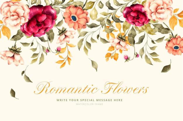 Fondo encantador con flores románticas vector gratuito