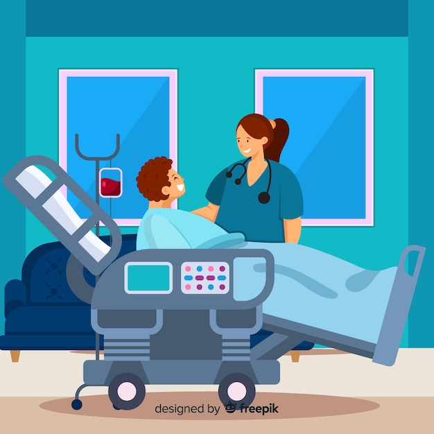Fondo enfermera plana ayudando a paciente vector gratuito