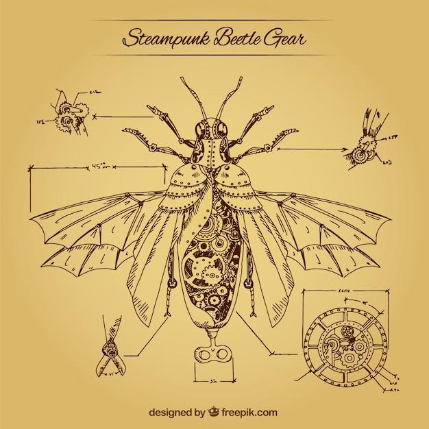 Fondo de los engranajes de un escarabajo vector gratuito