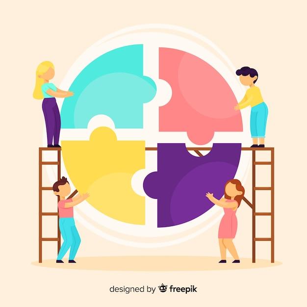 Fondo equipo conectando puzzle vector gratuito