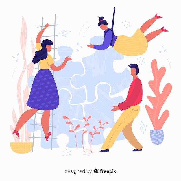 Fondo equipo haciendo puzzle dibujado a mano vector gratuito