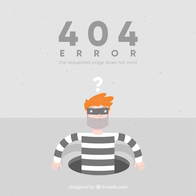 Fondo de error 404 con ladrón en estilo plano vector gratuito