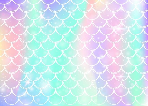 Fondo de escamas de arco iris con formas de princesa sirena kawaii Vector Premium