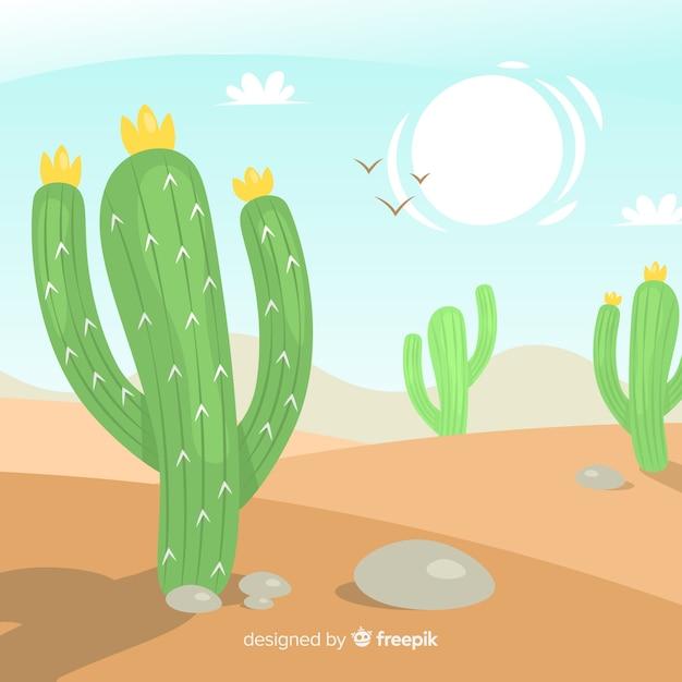 Fondo escena desierto dibujada a mano vector gratuito