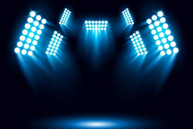 Fondo de escena de foco iluminado azul Vector Premium