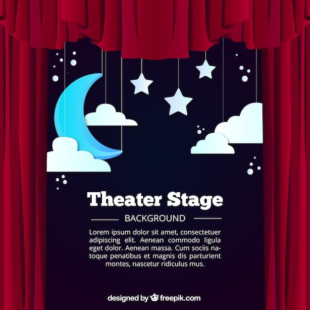 Fondo de escenario de teatro con luna y nubes colgando vector gratuito