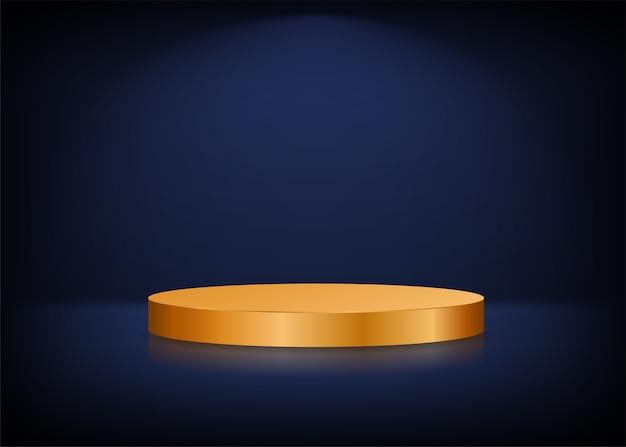 Fondo de escenario vacío. podio redondo dorado para presentación. Vector Premium