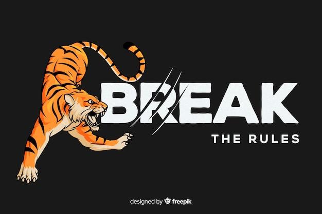 Fondo eslogan con tigre realista vector gratuito
