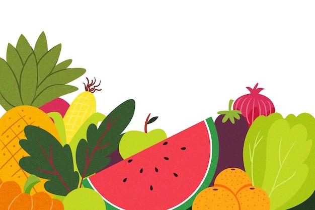 Fondo de espacio de copia de frutas y verduras vector gratuito