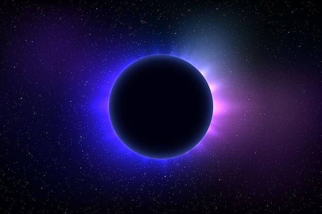 Fondo de espacio con eclipse solar total. Vector Premium