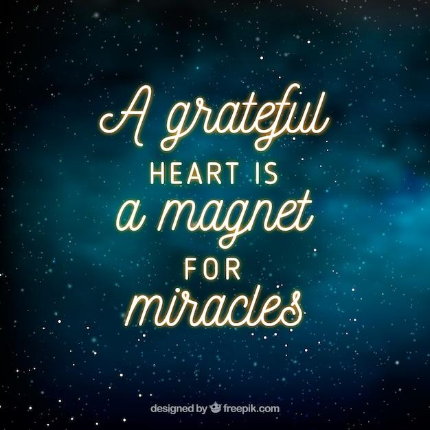 Fondo De Espacio Con Inspiradora Frase De Gratitud Vector
