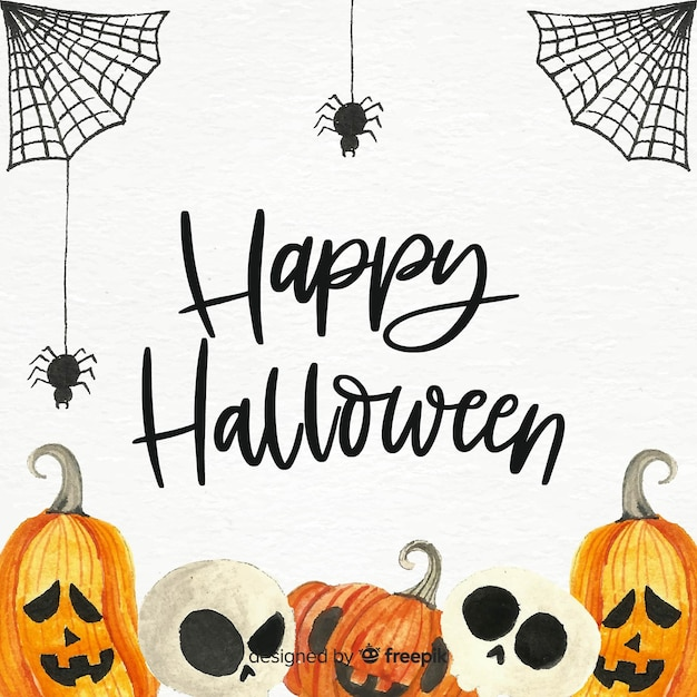 Fondo espeluznante de halloween en acuarela vector gratuito