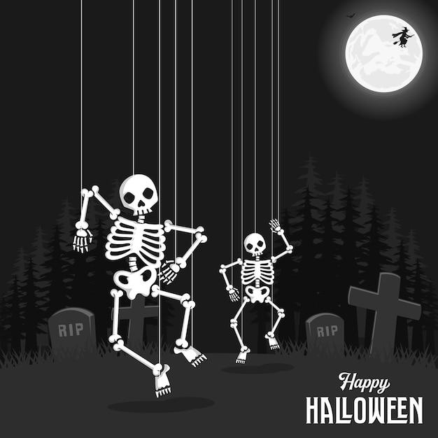 Fondo espeluznante de halloween con calavera y cuerda Vector Premium