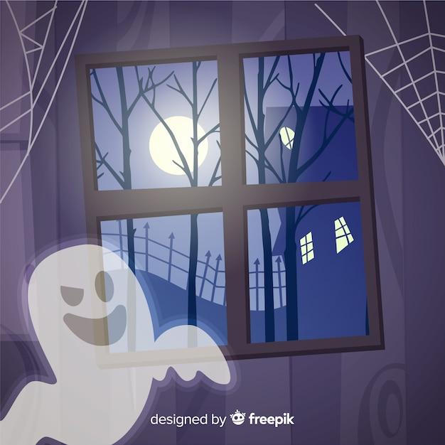 Fondo espeluznante de halloween con diseño plano vector gratuito