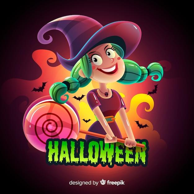 Fondo espeluznante de halloween con diseño realista vector gratuito