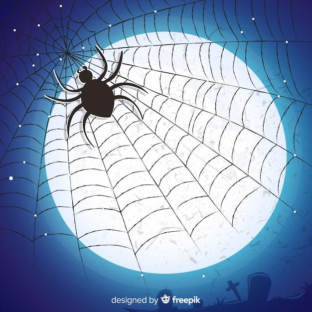 Fondo espeluznante de telaraña de halloween dibujado a mano vector gratuito