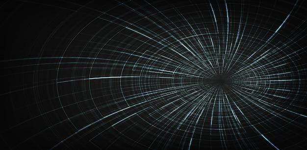 Fondo espiral digital agujero negro Vector Premium
