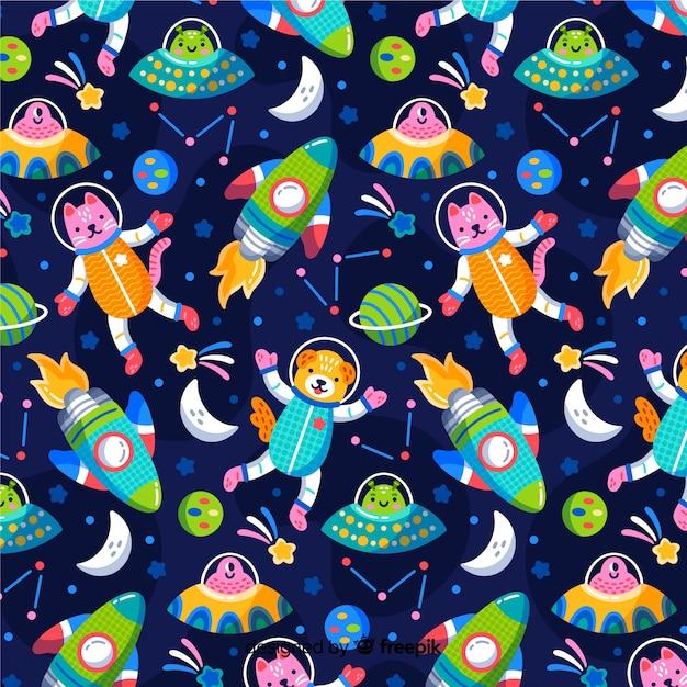 Fondo estampado colorido de galaxia vector gratuito