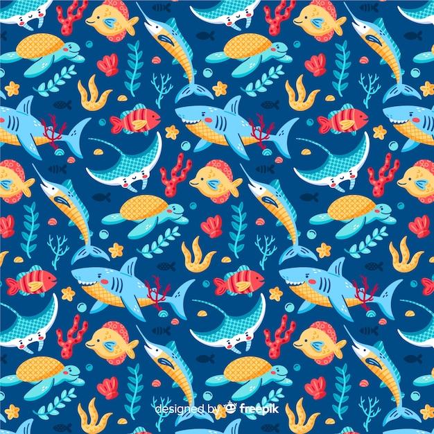 Fondo estampado colorido de vida marina vector gratuito