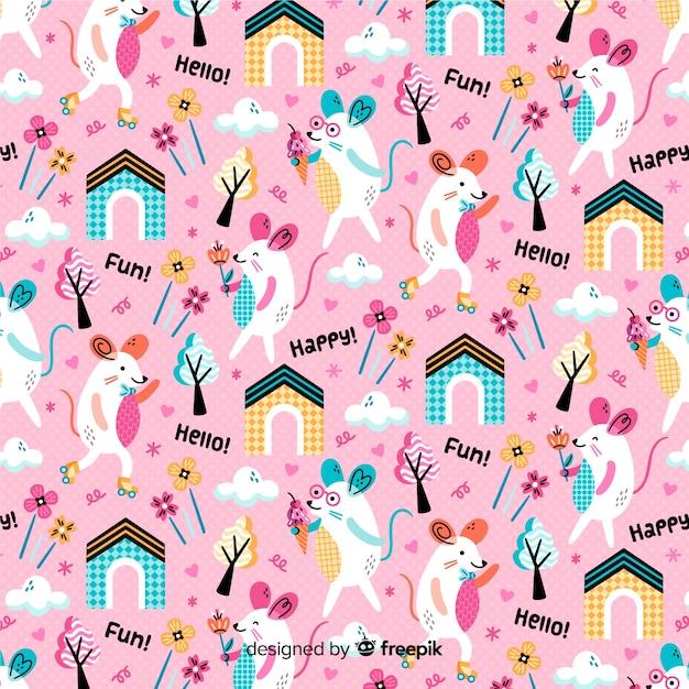 Fondo estampado rosa de ratones y plantas vector gratuito