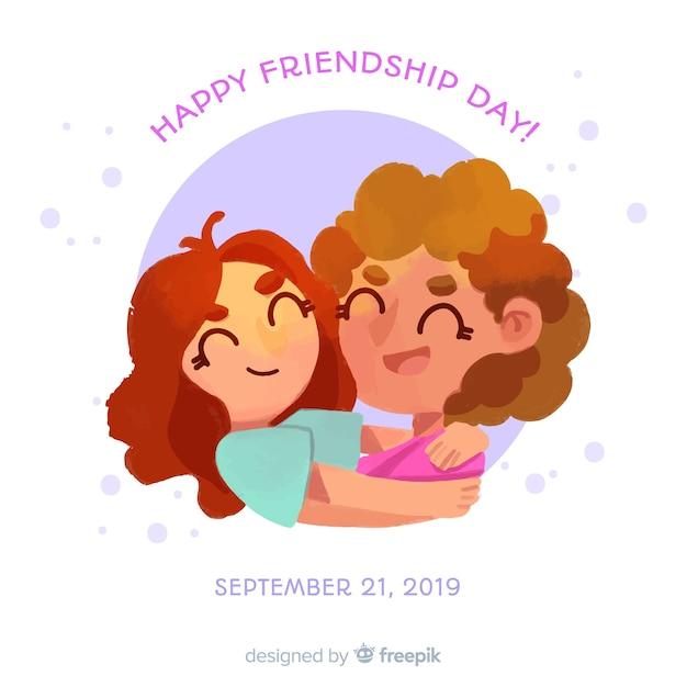 Fondo estilo acuarela día de la amistad vector gratuito