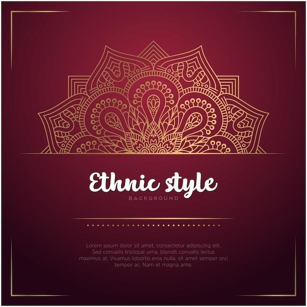 Fondo de estilo étnico con plantilla de mandala y texto, color rojo y dorado vector gratuito