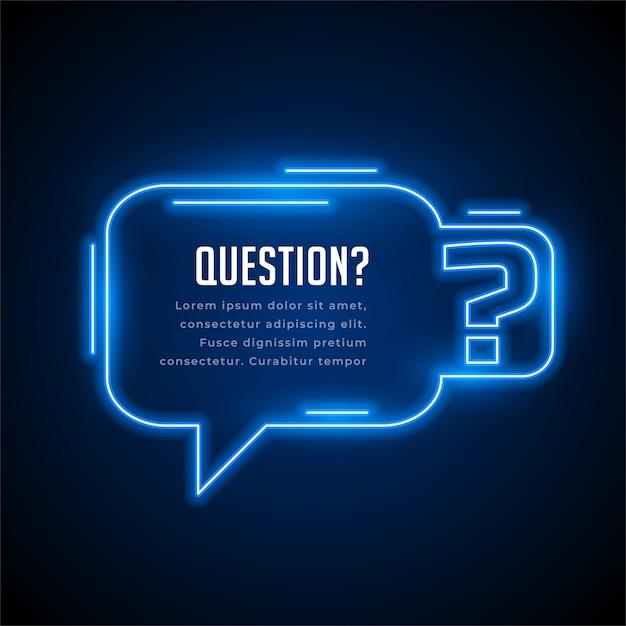 Fondo de estilo neón de preguntas con espacio de texto vector gratuito