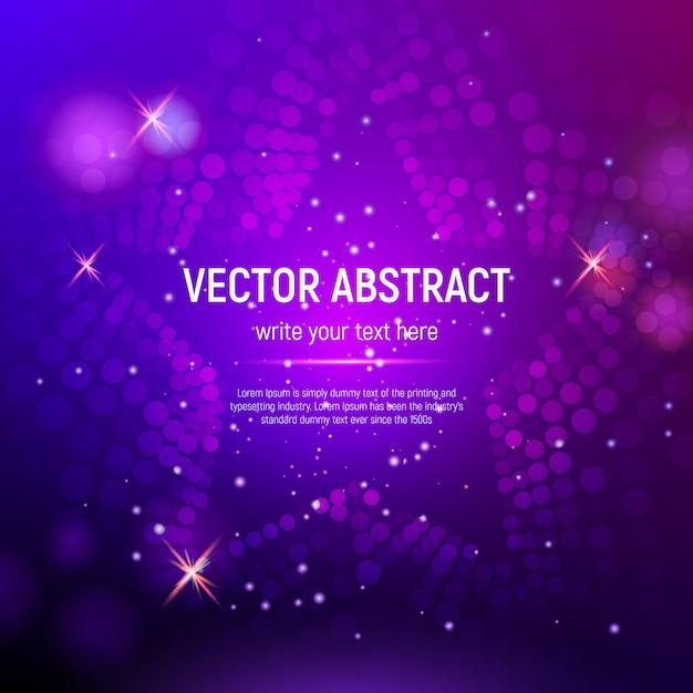 Fondo de estrella de malla púrpura abstracta 3d con círculos, destellos de lentes y reflejos brillantes. efecto bokeh Vector Premium