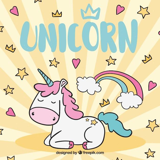 Fondo con estrellas y corazones con unicornio dibujado a mano vector gratuito