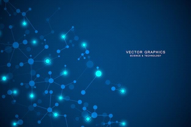 Fondo de estructura molecular Vector Premium