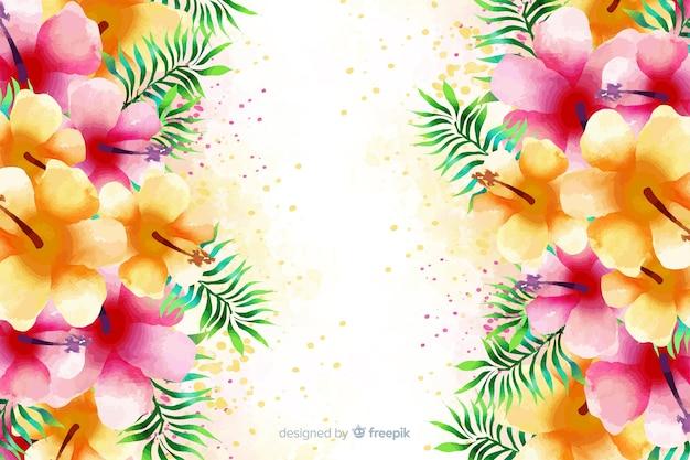 Fondo exótico y colorido de flores en acuarela vector gratuito