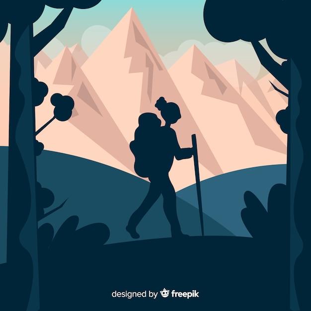 Fondo de explorador con mochila vector gratuito