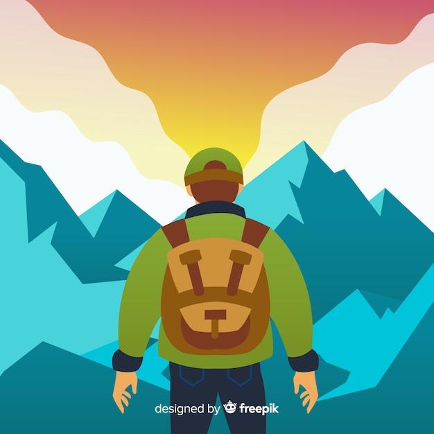 Fondo explorador con mochila vector gratuito