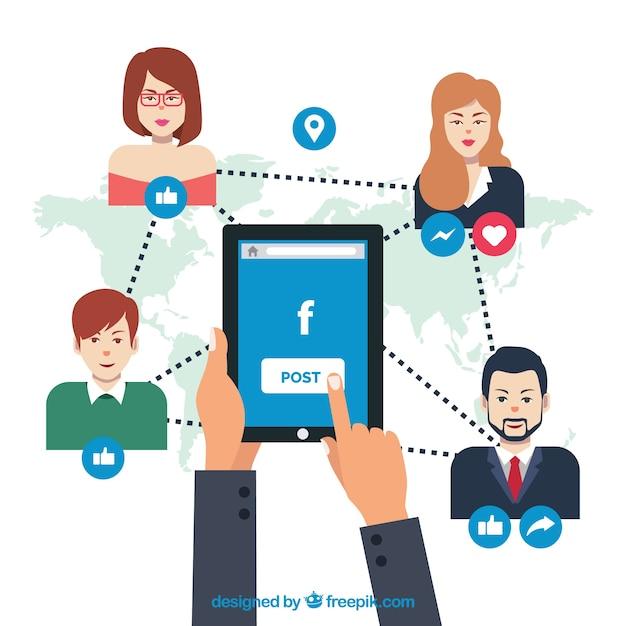 Fondo de facebook conectando a la gente vector gratuito