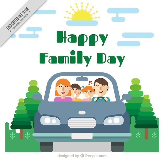 Fondo de familia en un coche con los niños cantando vector gratuito