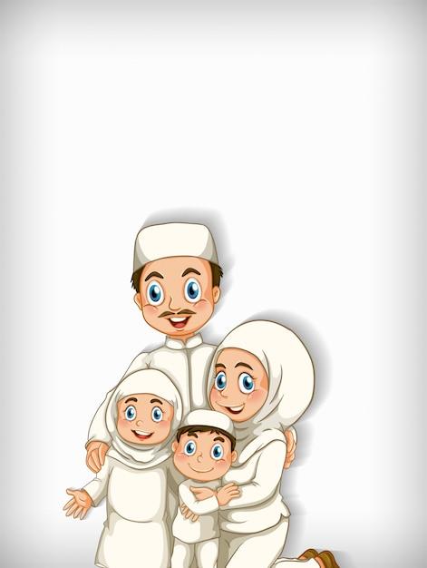 Fondo con familia musulmana vector gratuito