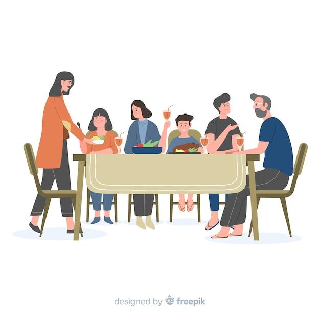 Fondo familia sentada alrededor de la mesa dibujado a mano vector gratuito