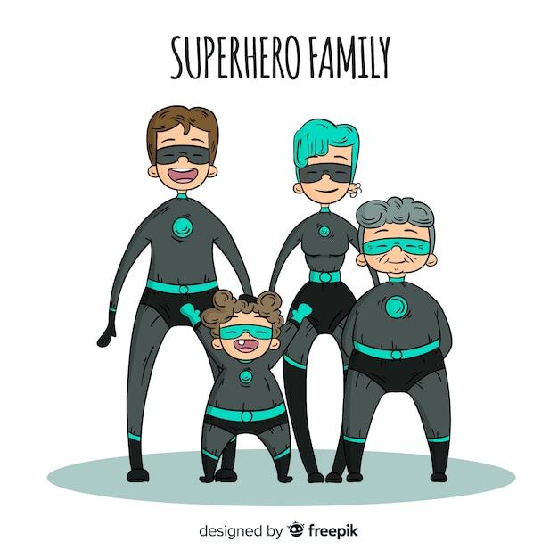 Fondo familia super héroes dibujos animados vector gratuito