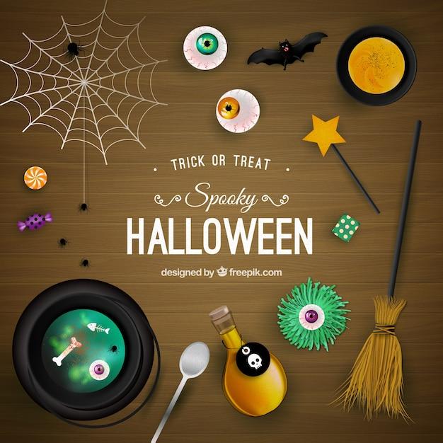 Fondo fantasmagórico de halloween en superficie de madera Vector Premium