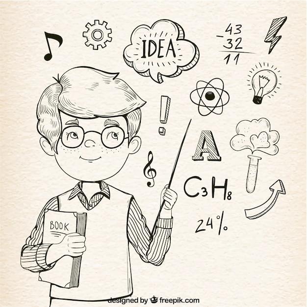 Fondo fantástico de niño inteligente con elementos de aprendizaje vector gratuito
