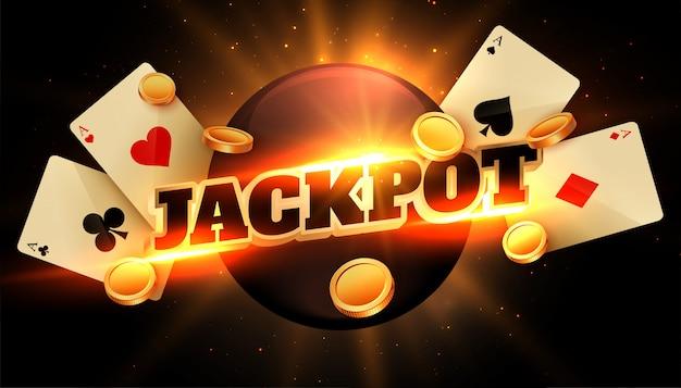 Fondo de felicitación de jackpot con monedas y tarjetas de casino vector gratuito