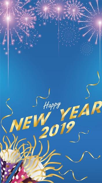 Fondo feliz año nuevo 2019 para tarjeta de felicitaciones Vector Premium