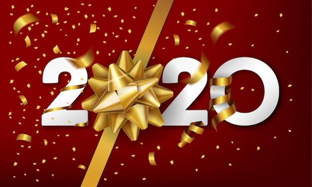 Fondo de feliz año nuevo 2020 con arco de regalo dorado y confeti Vector Premium