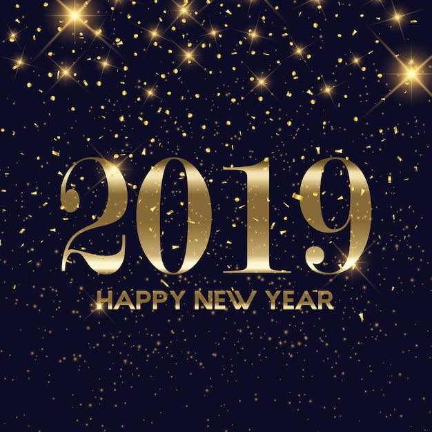 Fondo de feliz año nuevo de confeti de oro vector gratuito