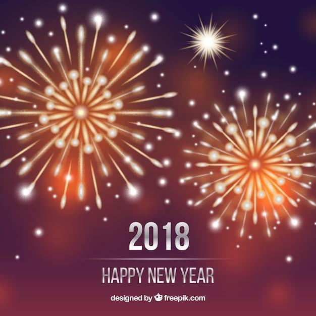 Fondo De Feliz Ano Nuevo Con Fuegos Artificiales Dorados Descargar