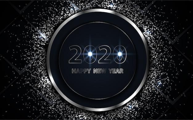 Fondo feliz año nuevo negro y plata con elemento de brillo Vector Premium