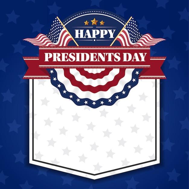 Fondo feliz de la bandera del día de los presidentes y tarjetas de felicitación Vector Premium