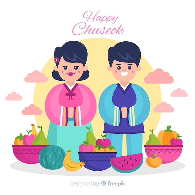 Fondo de feliz chuseok coreano vector gratuito