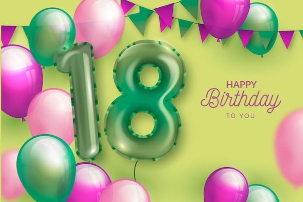 Fondo de feliz cumpleaños 18 con globos realistas Vector Premium