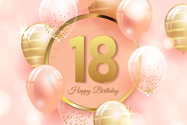 Fondo de feliz cumpleaños 18 con globos realistas vector gratuito